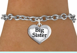 """<bR>                     EXCLUSIVELY OURS!!<BR>               AN ALLAN ROBIN DESIGN!!<BR>      CLICK HERE TO SEE 1000+ EXCITING<BR>         CHANGES THAT YOU CAN MAKE!<BR>        CADMIUM,  LEAD & NICKEL FREE!! <BR>W1297SB - POLISHED SILVER TONE <BR>""""BIG SISTER"""" HEART CHARM BRACELET <BR>           FROM $4.15 TO $8.00 �2012"""