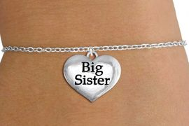 """<bR>                     EXCLUSIVELY OURS!!<BR>               AN ALLAN ROBIN DESIGN!!<BR>      CLICK HERE TO SEE 1000+ EXCITING<BR>         CHANGES THAT YOU CAN MAKE!<BR>        CADMIUM,  LEAD & NICKEL FREE!! <BR>W1297SB - POLISHED SILVER TONE <BR>""""BIG SISTER"""" HEART CHILD'S BRACELET <BR>           FROM $4.15 TO $8.00 �2012"""