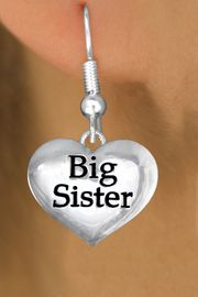 """<bR>               EXCLUSIVELY OURS!!<BR>         AN ALLAN ROBIN DESIGN!!<BR>CLICK HERE TO SEE 1000+ EXCITING<BR>   CHANGES THAT YOU CAN MAKE!<BR>      CADMIUM,  LEAD & NICKEL FREE!! <BR>W1297SE -  POLISHED SILVER TONE <BR>""""BIG SISTER"""" HEART CHARM EARRINGS  <BR>      FROM $4.50 TO $8.35 �2012"""