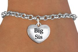 "<bR>                     EXCLUSIVELY OURS!!<BR>               AN ALLAN ROBIN DESIGN!!<BR>      CLICK HERE TO SEE 1000+ EXCITING<BR>         CHANGES THAT YOU CAN MAKE!<BR>        CADMIUM,  LEAD & NICKEL FREE!! <BR>W1298SB - POLISHED SILVER TONE <BR>""BIG SIS"" HEART CHARM BRACELET <BR>           FROM $4.15 TO $8.00 �2012"