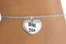 "<bR>                     EXCLUSIVELY OURS!!<BR>               AN ALLAN ROBIN DESIGN!!<BR>      CLICK HERE TO SEE 1000+ EXCITING<BR>         CHANGES THAT YOU CAN MAKE!<BR>        CADMIUM,  LEAD & NICKEL FREE!! <BR>W1298SB - POLISHED SILVER TONE <BR>""BIG SIS"" HEART CHILD'S BRACELET <BR>           FROM $4.15 TO $8.00 �2012"