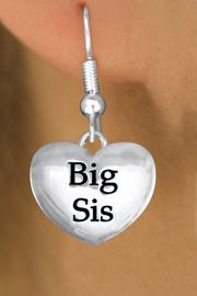 """<bR>               EXCLUSIVELY OURS!!<BR>         AN ALLAN ROBIN DESIGN!!<BR>CLICK HERE TO SEE 1000+ EXCITING<BR>   CHANGES THAT YOU CAN MAKE!<BR>      CADMIUM,  LEAD & NICKEL FREE!! <BR>W1298SE -  POLISHED SILVER TONE <BR>""""BIG SIS"""" HEART CHARM EARRINGS  <BR>      FROM $4.50 TO $8.35 �2012"""