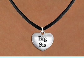 """<bR>               EXCLUSIVELY OURS!!<BR>         AN ALLAN ROBIN DESIGN!!<BR>CLICK HERE TO SEE 1000+ EXCITING<BR>   CHANGES THAT YOU CAN MAKE!<BR>      CADMIUM,  LEAD & NICKEL FREE!! <BR>W1298SN -  POLISHED SILVER TONE <Br>""""BIG SIS"""" HEART CHARM & NECKLACE <BR>      FROM $4.50 TO $8.35 �2012"""
