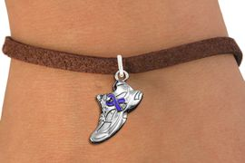 <bR>                     EXCLUSIVELY OURS!!<BR>               AN ALLAN ROBIN DESIGN!!<BR>      CLICK HERE TO SEE 1000+ EXCITING<BR>         CHANGES THAT YOU CAN MAKE!<BR>        CADMIUM,  LEAD & NICKEL FREE!! <BR>W1303SB - SILVER TONE SNEAKER <BR>PURPLE RIBBON CHARM BRACELET <BR>           FROM $4.15 TO $8.00 �2012