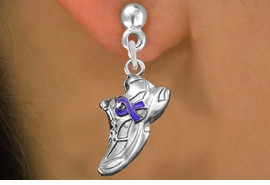 <bR>               EXCLUSIVELY OURS!!<BR>         AN ALLAN ROBIN DESIGN!!<BR>CLICK HERE TO SEE 1000+ EXCITING<BR>   CHANGES THAT YOU CAN MAKE!<BR>      CADMIUM,  LEAD & NICKEL FREE!! <BR>W1303SE -  SILVER TONE SNEAKER WITH <BR>PURPLE RIBBON CHARM EARRINGS  <BR>      FROM $4.50 TO $8.35 �2012