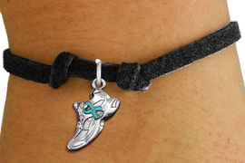 <bR>                     EXCLUSIVELY OURS!!<BR>               AN ALLAN ROBIN DESIGN!!<BR>      CLICK HERE TO SEE 1000+ EXCITING<BR>         CHANGES THAT YOU CAN MAKE!<BR>        CADMIUM,  LEAD & NICKEL FREE!! <BR>W1304SB - SILVER TONE SNEAKER <BR>TEAL RIBBON CHILDS BRACELET <BR>           FROM $4.15 TO $8.00 �2012