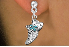 <bR>               EXCLUSIVELY OURS!!<BR>         AN ALLAN ROBIN DESIGN!!<BR>CLICK HERE TO SEE 1000+ EXCITING<BR>   CHANGES THAT YOU CAN MAKE!<BR>      CADMIUM,  LEAD & NICKEL FREE!! <BR>W1304SE -  SILVER TONE SNEAKER WITH <BR>TEAL RIBBON CHARM EARRINGS  <BR>      FROM $4.50 TO $8.35 �2012