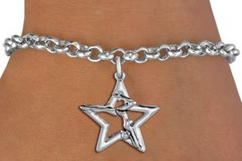 <bR>               EXCLUSIVELY OURS!!<BR>         AN ALLAN ROBIN DESIGN!!<BR>CLICK HERE TO SEE 1000+ EXCITING<BR>   CHANGES THAT YOU CAN MAKE!<BR>  CADMIUM,  LEAD & NICKEL FREE!! <BR>W1309SB - SILVER TONE GYMNAST <BR>  POSED IN STAR CHARM BRACELET <BR>     FROM $4.15 TO $8.00 �2012