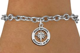 """<bR>                 EXCLUSIVELY OURS!!<BR>           AN ALLAN ROBIN DESIGN!!<BR>  CLICK HERE TO SEE 1000+ EXCITING<BR>     CHANGES THAT YOU CAN MAKE!<BR> CADMIUM, LEAD & NICKEL FREE!! <BR>W1313SB - ROUND SILVER TONE <BR>""""PEACE ON EARTH"""" CHRISTMAS CHARM & <BR>BRACELET FROM $4.15 TO $8.00 �2012"""