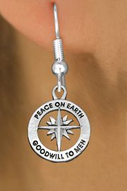 """<bR>                 EXCLUSIVELY OURS!!<BR>           AN ALLAN ROBIN DESIGN!!<BR>  CLICK HERE TO SEE 1000+ EXCITING<BR>     CHANGES THAT YOU CAN MAKE!<BR> CADMIUM, LEAD & NICKEL FREE!! <BR>W1313SE - ROUND SILVER TONE <BR>""""PEACE ON EARTH"""" CHRISTMAS CHARM <BR>EARRINGS FROM $4.50 TO $8.35 �2012"""