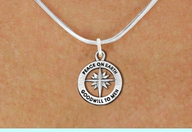 """<bR>                 EXCLUSIVELY OURS!!<BR>           AN ALLAN ROBIN DESIGN!!<BR>  CLICK HERE TO SEE 1000+ EXCITING<BR>     CHANGES THAT YOU CAN MAKE!<BR> CADMIUM, LEAD & NICKEL FREE!! <BR>W1313SN - ROUND SILVER TONE <BR>""""PEACE ON EARTH"""" CHRISTMAS CHARM <BR>& NECKLACE FROM $4.50 TO $8.35 �2012"""