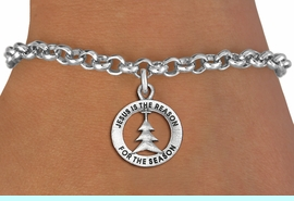 """<bR>                 EXCLUSIVELY OURS!!<BR>           AN ALLAN ROBIN DESIGN!!<BR>  CLICK HERE TO SEE 1000+ EXCITING<BR>     CHANGES THAT YOU CAN MAKE!<BR> CADMIUM, LEAD & NICKEL FREE!! <BR>W1314SB - ROUND SILVER TONE <BR>""""JESUS IS THE REASON"""" CHRISTMAS CHARM <BR>& BRACELET FROM $4.15 TO $8.00 �2012"""