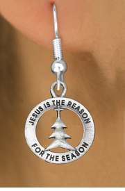 "<bR>                 EXCLUSIVELY OURS!!<BR>           AN ALLAN ROBIN DESIGN!!<BR>  CLICK HERE TO SEE 1000+ EXCITING<BR>     CHANGES THAT YOU CAN MAKE!<BR> CADMIUM, LEAD & NICKEL FREE!! <BR>W1314SE - ROUND SILVER TONE <BR>""JESUS IS THE REASON"" CHRISTMAS CHARM <BR>EARRINGS FROM $4.50 TO $8.35 �2012"