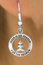 """<bR>                 EXCLUSIVELY OURS!!<BR>           AN ALLAN ROBIN DESIGN!!<BR>  CLICK HERE TO SEE 1000+ EXCITING<BR>     CHANGES THAT YOU CAN MAKE!<BR> CADMIUM, LEAD & NICKEL FREE!! <BR>W1314SE - ROUND SILVER TONE <BR>""""JESUS IS THE REASON"""" CHRISTMAS CHARM <BR>EARRINGS FROM $4.50 TO $8.35 �2012"""