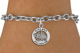 "<bR>                 EXCLUSIVELY OURS!!<BR>           AN ALLAN ROBIN DESIGN!!<BR>  CLICK HERE TO SEE 1000+ EXCITING<BR>     CHANGES THAT YOU CAN MAKE!<BR> CADMIUM, LEAD & NICKEL FREE!! <BR>W1315SB - ROUND SILVER TONE <BR>   ""WISE MEN"" CHRISTMAS CHARM & <BR>BRACELET FROM $4.15 TO $8.00 �2012"