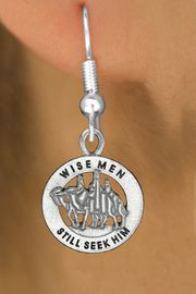 """<bR>                 EXCLUSIVELY OURS!!<BR>           AN ALLAN ROBIN DESIGN!!<BR>  CLICK HERE TO SEE 1000+ EXCITING<BR>     CHANGES THAT YOU CAN MAKE!<BR> CADMIUM, LEAD & NICKEL FREE!! <BR>W1315SE - ROUND SILVER TONE <BR>   """"WISE MEN"""" CHRISTMAS CHARM <BR>EARRINGS FROM $4.50 TO $8.35 �2012"""