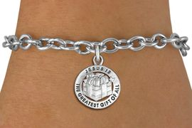 """<bR>                 EXCLUSIVELY OURS!!<BR>           AN ALLAN ROBIN DESIGN!!<BR>  CLICK HERE TO SEE 1000+ EXCITING<BR>     CHANGES THAT YOU CAN MAKE!<BR> CADMIUM, LEAD & NICKEL FREE!! <BR>W1316SB - ROUND SILVER TONE <BR>""""GREATEST GIFT"""" CHRISTMAS CHARM & <BR>BRACELET FROM $4.15 TO $8.00 �2012"""