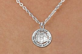 """<bR>                 EXCLUSIVELY OURS!!<BR>           AN ALLAN ROBIN DESIGN!!<BR>  CLICK HERE TO SEE 1000+ EXCITING<BR>     CHANGES THAT YOU CAN MAKE!<BR> CADMIUM, LEAD & NICKEL FREE!! <BR>W1316SN - ROUND SILVER TONE <BR>""""GREATEST GIFT"""" CHRISTMAS CHARM <BR>& NECKLACE FROM $4.50 TO $8.35 �2012"""