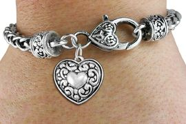 <bR>                 EXCLUSIVELY OURS!!<BR>           AN ALLAN ROBIN DESIGN!!<BR>  CLICK HERE TO SEE 1000+ EXCITING<BR>     CHANGES THAT YOU CAN MAKE!<BR> CADMIUM, LEAD & NICKEL FREE!! <BR>W1320SB - ANTIQUED SILVER TONE <BR>SCRIPT HEART CHARM & HEART CLASP <BR>BRACELET FROM $3.94 TO $8.75 �2012