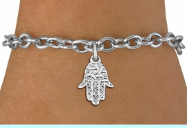 """<bR>                 EXCLUSIVELY OURS!!<BR>           AN ALLAN ROBIN DESIGN!!<BR>  CLICK HERE TO SEE 1000+ EXCITING<BR>     CHANGES THAT YOU CAN MAKE!<BR> CADMIUM, LEAD & NICKEL FREE!! <BR>W1331SB - SMALL SILVER TONE HAMSA <BR>""""GOOD LUCK"""" CHARM & BRACELET <BR>        FROM $4.15 TO $8.00 �2012"""