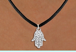 """<bR>                EXCLUSIVELY OURS!!<BR>          AN ALLAN ROBIN DESIGN!!<BR> CLICK HERE TO SEE 1000+ EXCITING<BR>    CHANGES THAT YOU CAN MAKE!<BR>CADMIUM, LEAD & NICKEL FREE!! <BR>W1331SN - SMALL SILVER TONE HAMSA <BR>""""GOOD LUCK"""" CHARM & NECKLACE <BR>     FROM $4.50 TO $8.35 �2012"""