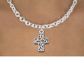 <bR>                EXCLUSIVELY OURS!!<BR>          AN ALLAN ROBIN DESIGN!!<BR> CLICK HERE TO SEE 1000+ EXCITING<BR>    CHANGES THAT YOU CAN MAKE!<BR>CADMIUM, LEAD & NICKEL FREE!! <BR> W1335SN - ANTIQUED SILVER TONE <BR>SCRIPT CROSS CHARM & NECKLACE <BR>     FROM $4.50 TO $8.35 �2012