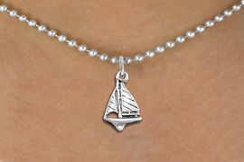 <bR>                EXCLUSIVELY OURS!!<BR>          AN ALLAN ROBIN DESIGN!!<BR> CLICK HERE TO SEE 1000+ EXCITING<BR>    CHANGES THAT YOU CAN MAKE!<BR>CADMIUM, LEAD & NICKEL FREE!! <BR> W1338SN - ANTIQUED SILVER TONE <BR> SAILBOAT CHARM & NECKLACE <BR>     FROM $4.50 TO $8.35 �2012