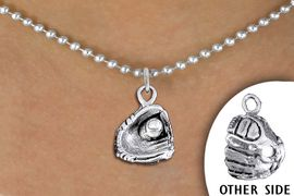 <bR>               EXCLUSIVELY OURS!! <BR>          AN ALLAN ROBIN DESIGN!! <BR> CLICK HERE TO SEE 1000+ EXCITING <BR>       CHANGES THAT YOU CAN MAKE! <BR>    CADMIUM, LEAD & NICKEL FREE!! <BR>   W1406SN - DETAILED SILVER TONE <Br>BASEBALL  / SOFTBALL MITT CHARM & <BR>  NECKLACE FROM $4.50 TO $8.35 �2013