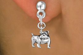 <bR>               EXCLUSIVELY OURS!!<BR>         AN ALLAN ROBIN DESIGN!!<BR>CLICK HERE TO SEE 1000+ EXCITING<BR>   CHANGES THAT YOU CAN MAKE!<BR>      CADMIUM,  LEAD & NICKEL FREE!! <BR>W298SE -  POLISHED SILVER TONE <BR>BULLDOG CHARM EARRINGS  <BR>      FROM $4.50 TO $8.35 �2012