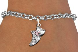 <bR>                     EXCLUSIVELY OURS!!<BR>               AN ALLAN ROBIN DESIGN!!<BR>      CLICK HERE TO SEE 1000+ EXCITING<BR>         CHANGES THAT YOU CAN MAKE!<BR>        CADMIUM,  LEAD & NICKEL FREE!! <BR>W312SB - SILVER TONE SNEAKER <BR>PINK RIBBON CHARM BRACELET <BR>           FROM $4.15 TO $8.00 �2012
