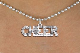 """<bR>               EXCLUSIVELY OURS!! <Br>          AN ALLAN ROBIN DESIGN!! <BR> CLICK HERE TO SEE 1000+ EXCITING <BR>       CHANGES THAT YOU CAN MAKE! <BR>    LEAD, NICKEL & CADMIUM FREE!! <BR> 1410SN - SILVER TONE AND CRYSTAL <BR>  """"CHEER"""" WORD CHARM AND NECKLACE <BR>        FROM $5.40 TO $9.85 �2013"""