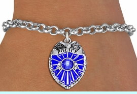 <bR>               EXCLUSIVELY OURS!!<Br>         AN ALLAN ROBIN DESIGN!! <BR>CLICK HERE TO SEE 1000+ EXCITING <BR>   CHANGES THAT YOU CAN MAKE!<BR>   LEAD, NICKEL & CADMIUM FREE!! <BR> W1329SB - DETAILED POLICE BADGE <BR> WITH BLUE CRYSTAL CHARM & BRACELET <BR>     FROM $5.40 TO $9.85 �2012