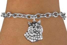 <bR>               EXCLUSIVELY OURS!!<Br>         AN ALLAN ROBIN DESIGN!! <BR>CLICK HERE TO SEE 1000+ EXCITING <BR>   CHANGES THAT YOU CAN MAKE!<BR>   LEAD, NICKEL & CADMIUM FREE!! <BR> W1352SB - DETAILED BOBCAT WITH <BR> CLEAR CRYSTALS CHARM & BRACELET <BR>     FROM $5.40 TO $9.85 �2012