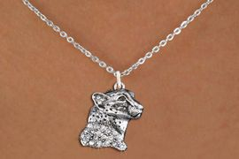 <bR>                  EXCLUSIVELY OURS!!<Br>            AN ALLAN ROBIN DESIGN!!<BR>   CLICK HERE TO SEE 1000+ EXCITING<BR>      CHANGES THAT YOU CAN MAKE!<BR>     LEAD, NICKEL & CADMIUM FREE!!<BR>W1353SN - DETAILED CHEETAH WITH <BR> CLEAR CRYSTALS CHARM NECKLACE <BR>         FROM $5.40 TO $9.85 �2012