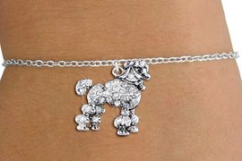<bR>               EXCLUSIVELY OURS!!<Br>         AN ALLAN ROBIN DESIGN!! <BR>CLICK HERE TO SEE 1000+ EXCITING <BR>   CHANGES THAT YOU CAN MAKE!<BR>   LEAD, NICKEL & CADMIUM FREE!! <BR> W1358SB - DETAILED POODLE <BR> WITH CRYSTALS & CHILDS BRACELET <BR>     FROM $5.40 TO $9.85 �2012