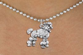 <bR>                  EXCLUSIVELY OURS!!<Br>            AN ALLAN ROBIN DESIGN!!<BR>   CLICK HERE TO SEE 1000+ EXCITING<BR>      CHANGES THAT YOU CAN MAKE!<BR>     LEAD, NICKEL & CADMIUM FREE!!<BR>W1358SN - DETAILED POODLE WITH <BR>CLEAR CRYSTALS CHARM NECKLACE <BR>         FROM $5.40 TO $9.85 �2012