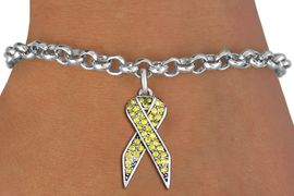 <bR>               EXCLUSIVELY OURS!! <Br>           AN ALLAN ROBIN DESIGN!! <BR>  CLICK HERE TO SEE 1000+ EXCITING <BR>     CHANGES THAT YOU CAN MAKE!<BR>     LEAD, NICKEL & CADMIUM FREE!! <BR>  W1385SB - YELLOW AWARENESS <BR>  CRYSTAL RIBBON CHARM & BRACELET <BR>       FROM $5.40 TO $9.85 �2013
