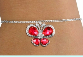 <bR>                 EXCLUSIVELY OURS!! <Br>             AN ALLAN ROBIN DESIGN!! <BR>    CLICK HERE TO SEE 1000+ EXCITING <BR>       CHANGES THAT YOU CAN MAKE!<BR>       LEAD, NICKEL & CADMIUM FREE!! <BR> W1398SB - SILVER TONE AND RUBY RED <BR> CRYSTAL BUTTERFLY CHARM & BRACELET <BR>         FROM $5.40 TO $9.85 �2013