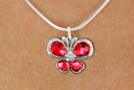 <bR>                    EXCLUSIVELY OURS!! <Br>                AN ALLAN ROBIN DESIGN!! <BR>       CLICK HERE TO SEE 1000+ EXCITING <BR>          CHANGES THAT YOU CAN MAKE! <BR>         LEAD, NICKEL & CADMIUM FREE!! <BR> W1398SN - SILVER TONE AND RUBY RED <BR> CRYSTAL BUTTERFLY CHARM AND NECKLACE <BR>             FROM $5.40 TO $9.85 �2013