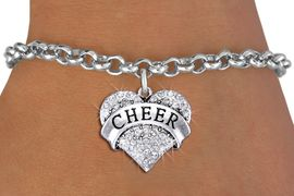 "<bR>               EXCLUSIVELY OURS!! <Br>          AN ALLAN ROBIN DESIGN!! <BR> CLICK HERE TO SEE 1000+ EXCITING <BR>       CHANGES THAT YOU CAN MAKE! <BR>    LEAD, NICKEL & CADMIUM FREE!! <BR> W1408SB - SILVER TONE ""CHEER"" CLEAR <BR>   CRYSTAL HEART CHARM & BRACELET <BR>        FROM $5.40 TO $9.85 �2013"