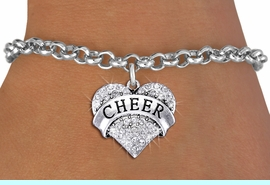 """<bR>               EXCLUSIVELY OURS!! <Br>          AN ALLAN ROBIN DESIGN!! <BR>      ADJUSTABLE SIZES 5-8 INCHES<BR>    LEAD, NICKEL & CADMIUM FREE!! <BR> W1408SB - SILVER TONE """"CHEER"""" CLEAR <BR>   CRYSTAL HEART CHARM & BRACELET <BR>                      $9.38 EACH �2013"""