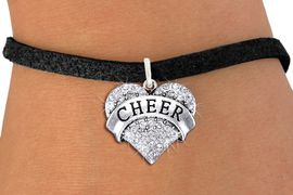 """<bR>               EXCLUSIVELY OURS!! <Br>          AN ALLAN ROBIN DESIGN!! <BR>         ADJUSTABLE BLACK SUEDE <BR>    LEAD, NICKEL & CADMIUM FREE!! <BR> W1408SB - SILVER TONE """"CHEER"""" CLEAR <BR>   CRYSTAL HEART CHARM & BRACELET <BR>                    $9.38 EACH �2013"""