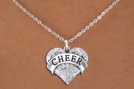 """<bR>                  EXCLUSIVELY OURS!! <Br>             AN ALLAN ROBIN DESIGN!! <BR>    CLICK HERE TO SEE 1000+ EXCITING <BR>          CHANGES THAT YOU CAN MAKE! <BR>       LEAD, NICKEL & CADMIUM FREE!! <BR> W1408SN - SILVER TONE """"CHEER"""" CLEAR <BR>    CRYSTAL HEART CHARM AND NECKLACE <BR>           FROM $5.40 TO $9.85 �2013"""
