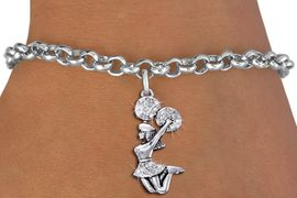 <BR>  JUMPING CHEERLEADER ADJUSTABLE BRACELET<bR>                             EXCLUSIVELY OURS!! <Br>                        AN ALLAN ROBIN DESIGN!! <BR>                   LEAD, NICKEL & CADMIUM FREE!! <BR>              W1409B1 - SILVER TONE AND CRYSTAL <BR>      JUMPING CHEERLEADER CHARM & BRACELET <BR>                               $9.68 EACH �2013