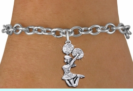 <bR>                   EXCLUSIVELY OURS!! <Br>              AN ALLAN ROBIN DESIGN!! <BR>     CLICK HERE TO SEE 1000+ EXCITING <BR>           CHANGES THAT YOU CAN MAKE! <BR>        LEAD, NICKEL & CADMIUM FREE!! <BR>    W1409B5 - SILVER TONE AND CRYSTAL <BR> JUMPING CHEERLEADER CHARM & BRACELET <BR>                      $9.68 EACH �2013
