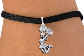 <bR>                   EXCLUSIVELY OURS!! <Br>              AN ALLAN ROBIN DESIGN!! <BR>             ADJUSTABLE BLACK SUEDE<BR>       LEAD, NICKEL & CADMIUM FREE!! <BR>    W1409B3 - SILVER TONE AND CRYSTAL <BR> JUMPING CHEERLEADER CHARM & BRACELET <BR>                        $9.68 EACH �2013
