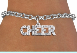 """<bR>                EXCLUSIVELY OURS!! <Br>           AN ALLAN ROBIN DESIGN!! <BR>  ADJUSTABLE ROLO CHAIN BRACELET <BR>     LEAD, NICKEL & CADMIUM FREE!! <BR> W1410B2 - SILVER TONE AND CRYSTAL <BR>     """"CHEER"""" WORD CHARM & BRACELET <BR>                   $9.68 EACH �2013"""