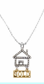 """<bR>                            EXCLUSIVELY OURS!! <Br>                       AN ALLAN ROBIN DESIGN!! <BR>              CLICK HERE TO SEE 1000+ EXCITING <BR>                    CHANGES THAT YOU CAN MAKE! <BR>                 LEAD, NICKEL & CADMIUM FREE!! <BR> W1722N1 - SILVER AND GOLD TONE REALTY """"SOLD"""" <BR>CLEAR CRYSTAL HOUSE CHARM ON CHAIN NECKLACE <BR>                     FROM $5.98 TO $12.85 �2015"""