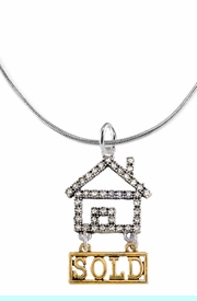 """<bR>                            EXCLUSIVELY OURS!! <Br>                       AN ALLAN ROBIN DESIGN!! <BR>              CLICK HERE TO SEE 1000+ EXCITING <BR>                    CHANGES THAT YOU CAN MAKE! <BR>                  LEAD, NICKEL & CADMIUM FREE!! <BR>W1722N2 - SILVER AND GOLD TONE REALTY """"SOLD"""" <BR>CLEAR CRYSTAL HOUSE CHARM ON A SNAKE CHAIN<BR> NECKLACE BRACELET FROM $5.98 TO $12.85 �2015"""