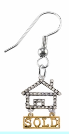"""<bR>                            EXCLUSIVELY OURS!! <Br>                       AN ALLAN ROBIN DESIGN!! <BR>              CLICK HERE TO SEE 1000+ EXCITING <BR>                    CHANGES THAT YOU CAN MAKE! <BR>                 LEAD, NICKEL & CADMIUM FREE!! <BR> W1722E1- SILVER AND GOLD TONE REALTY """"SOLD"""" <BR>    CLEAR CRYSTAL HOUSE CHARM ON A FISHHOOK <BR>            EARRING FROM $5.98 TO $12.85 �2015"""